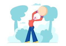 Happy Pensioner Woman Healthy Lifestyle, Senior Female Character Exercising with Fit Ball Outdoors, Sport, Aged Woman. Engaged Fitness Class in Park, Sports vector illustration