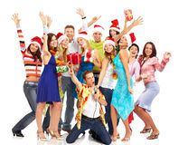 Happy people. Happy funny people. Christmas. Party. Isolated over white background Stock Images