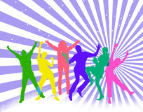 Happy people. Colored silhouettes of happy jumping people Royalty Free Stock Photos