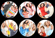 Happy people. Happy funny people. Young men and women Royalty Free Stock Photo