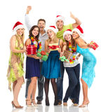 Happy people. Happy funny people. Christmas. Party. Isolated over white background Royalty Free Stock Photo