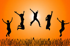 Happy people. Five young people jumping around and feel happy Royalty Free Stock Images
