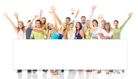 Happy people. Happy funny people. Isolated over white background royalty free stock photography