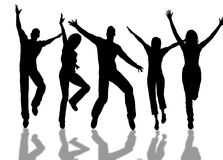 Happy people. A people group jumping for happiness royalty free stock image