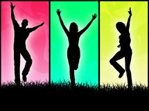 Happy people. A people group jumping for happiness in a colorful background royalty free illustration