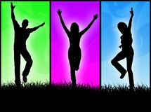 Happy people. Jumping and dancing for fun stock illustration