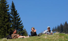 Happy people. Photo of a happy friends on mountain royalty free stock images