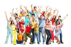 Happy people. Happy funny people. Isolated over white background royalty free stock photo