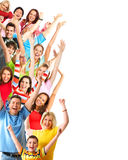 Happy people. Happy funny people. Isolated over white background stock photo