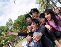 Happy people. Happy young people fun outdoor royalty free stock photography