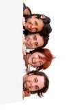 Happy people with a banner Royalty Free Stock Photos