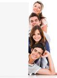 Happy people with banner Royalty Free Stock Photos