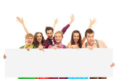 happy people with banner. Royalty Free Stock Photography