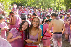 Happy people during Batalla del vino Stock Images