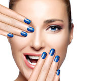 Happy People. Beautiful Girl Laughing. Nail Art Royalty Free Stock Photos