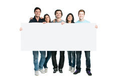 Happy people blank sign display Royalty Free Stock Images