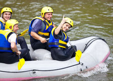 Happy people boat rever Royalty Free Stock Photo