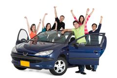 Happy people with a car Stock Photo