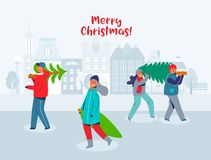 Happy People Carries Christmas Trees. Characters on New Year and Merry Christmas. Preparing for Winter Holidays royalty free illustration