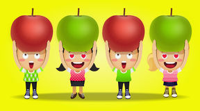 Happy people carrying big apples Stock Image