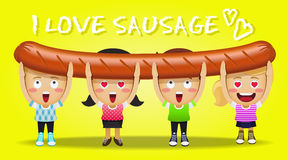 Happy people carrying big grilled sausage Stock Photography