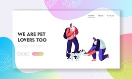 Happy People with Cats and Dogs, Feeding and Playing. Male Characters Spend Time with Domestic Animals, Caring of them. Friendship, Lifestyle, Leisure with Pet royalty free illustration