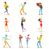 Happy people characters celebrating, dancing and having fun at a birthday party set of colorful characters vector Royalty Free Stock Photography