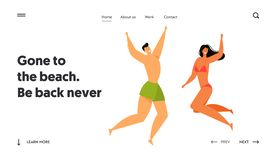 Happy People Characters Jumping with Hands Up, Beach Party. Man in Swimming Shorts and Woman in Bikini Fun stock illustration