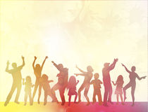 Happy people with children dancing. Color Royalty Free Stock Image