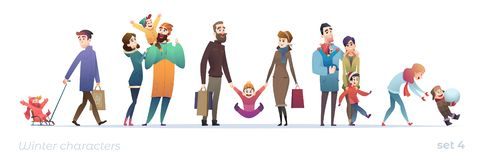 Happy people with children. Set of cartoon characters in flat design. Winter shopping and holidays. Christmas funny families vector illustration