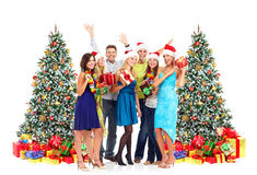 Happy people with Christmas gifts. Royalty Free Stock Photo