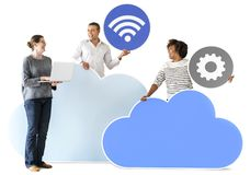 Happy people with cloud and technology icons Royalty Free Stock Image