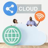 Happy people with cloud and technology icons vector illustration