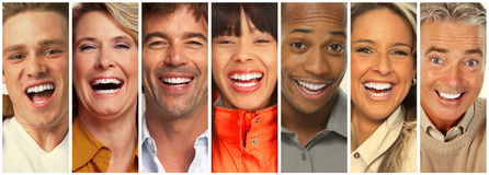 Happy people collection. Set of happy laughing people. Smiling faces collection Stock Photos