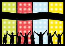 Happy people colorful vector. With bright dots and color panels Stock Images