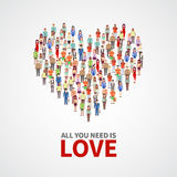 Happy people community, adult persons crowd in heart shape. All you need is love vector poster Stock Photography