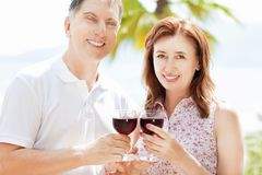 Happy people concept in summer vacation : beautiful middle-aged couple drink wine on the sea background stock photos