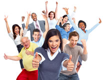 Happy people crowd. stock images