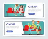 Happy people in 3d glasses with popcorn watching a movie, cinema banners set flat vector elements for website or mobile Stock Photos