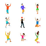 Happy people dancing man vector icon set flat style illustration Royalty Free Stock Images