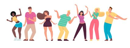 Happy people are dancing. Men and women move to the music. Set of cheerful energetic characters. Vector illustration in flat style stock illustration