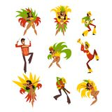 Happy people dancing and playing music, Brazil carnival, men and women in bright costumes vector Illustrations on a. Happy people dancing and playing music Royalty Free Stock Image