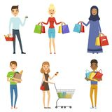 Happy people of different nations make shopping. Vector  Stock Photos