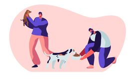 Happy People with Dogs, Feeding, Playing with Puppy. Male Characters Spend Time with Domestic Animals, Caring of them. Friendship, Lifestyle, Leisure with stock illustration