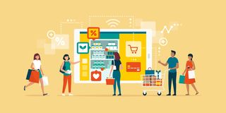 Happy people doing grocery shopping online. And shopping smartphone app: technology, retail and communication concept vector illustration
