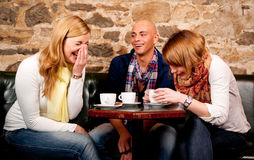 Happy people drinking coffee Stock Images