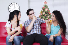 Happy people drinks champagne together Stock Photo