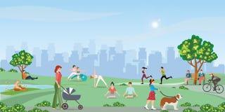 Happy people enjoying at the park stock illustration