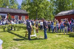 Happy people enjoying to see pole decoration and waiting for the swedish mid summer day celebration with colourful clothing and. Blue sky in the background with royalty free stock image