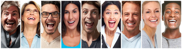 Happy people face set. Happy laughing people face expression set collage collection Stock Photos